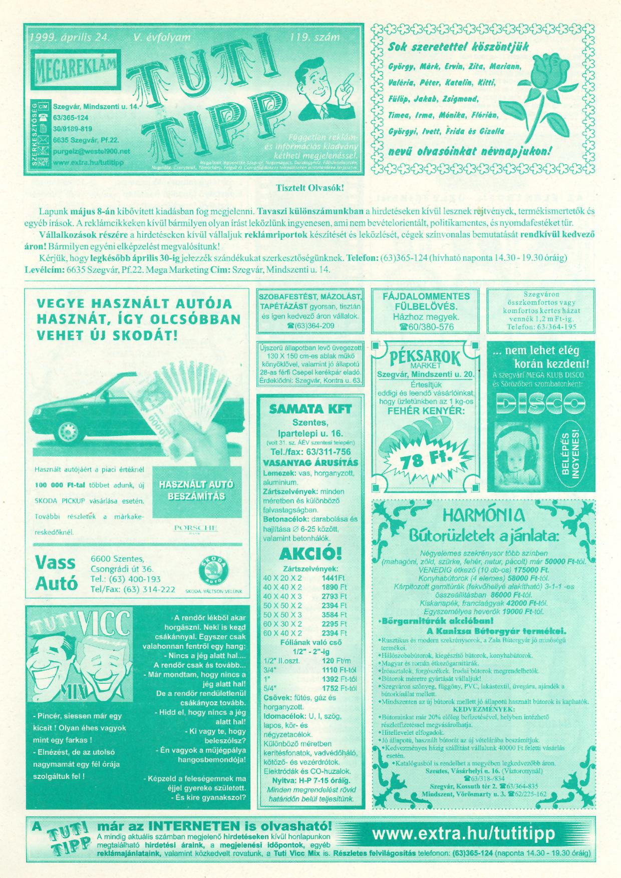013 Tuti Tipp reklámújság - 19990424-119. lapszám - 1.oldal - V. évfolyam.jpg