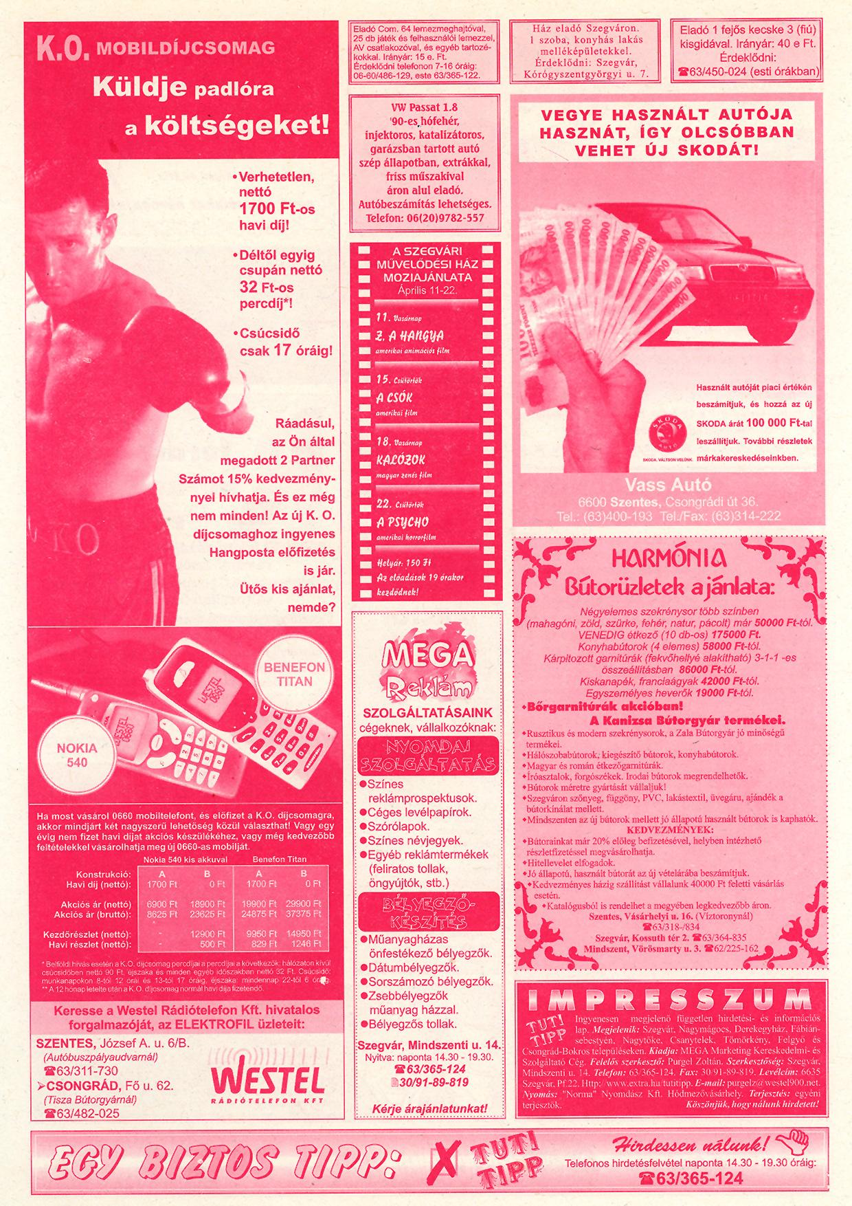 012 Tuti Tipp reklámújság - 19990410-118. lapszám - 2.oldal - V. évfolyam.jpg