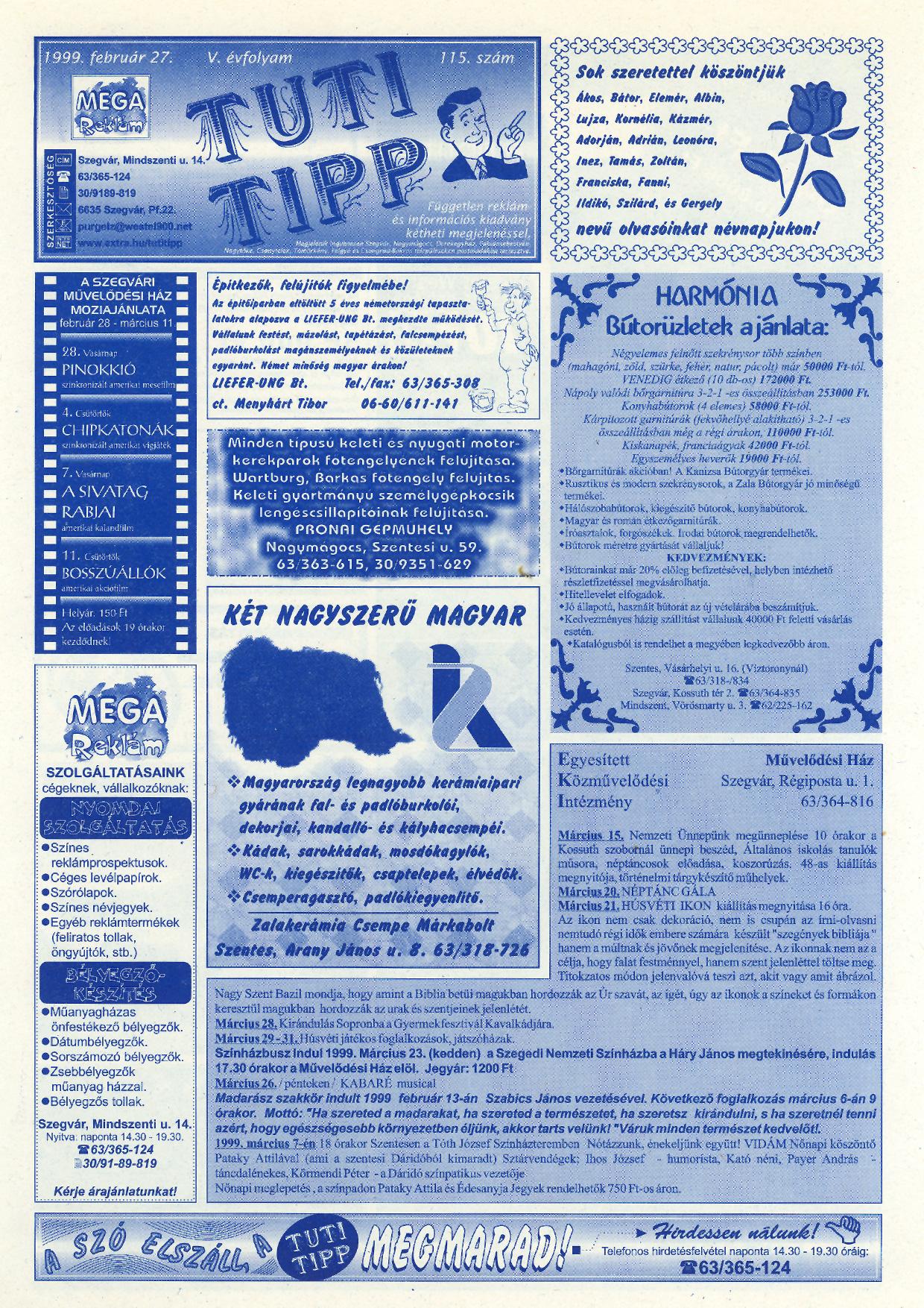 005 Tuti Tipp reklámújság - 19990227-115. lapszám - 1.oldal - V. évfolyam.jpg