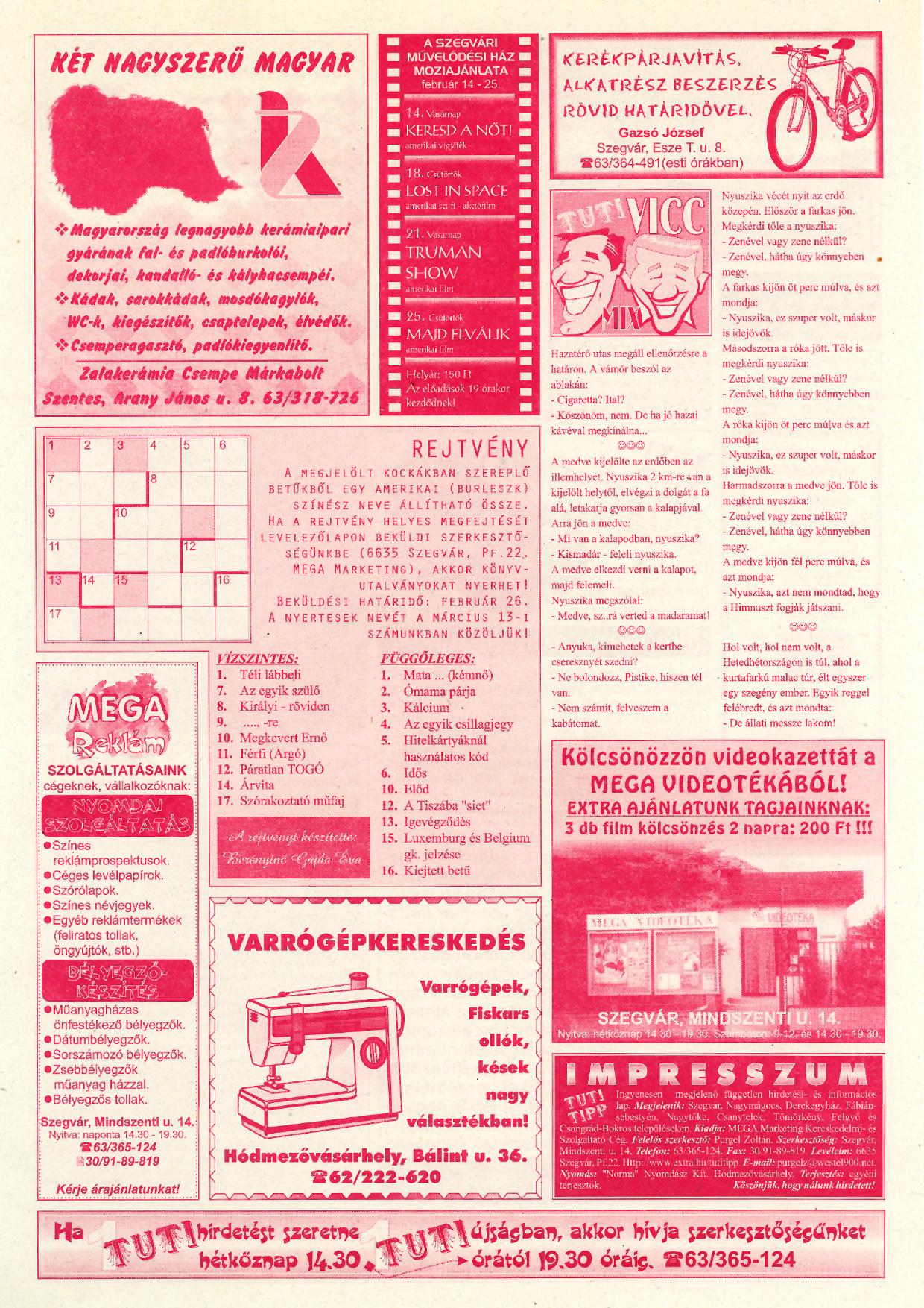 004 Tuti Tipp reklámújság - 19990213-114. lapszám - 2.oldal - V. évfolyam.jpg