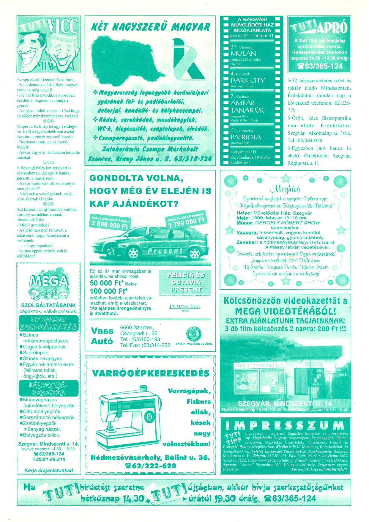 002 Tuti Tipp reklámújság - 19990130-113. lapszám - 2.oldal - V. évfolyam.jpg