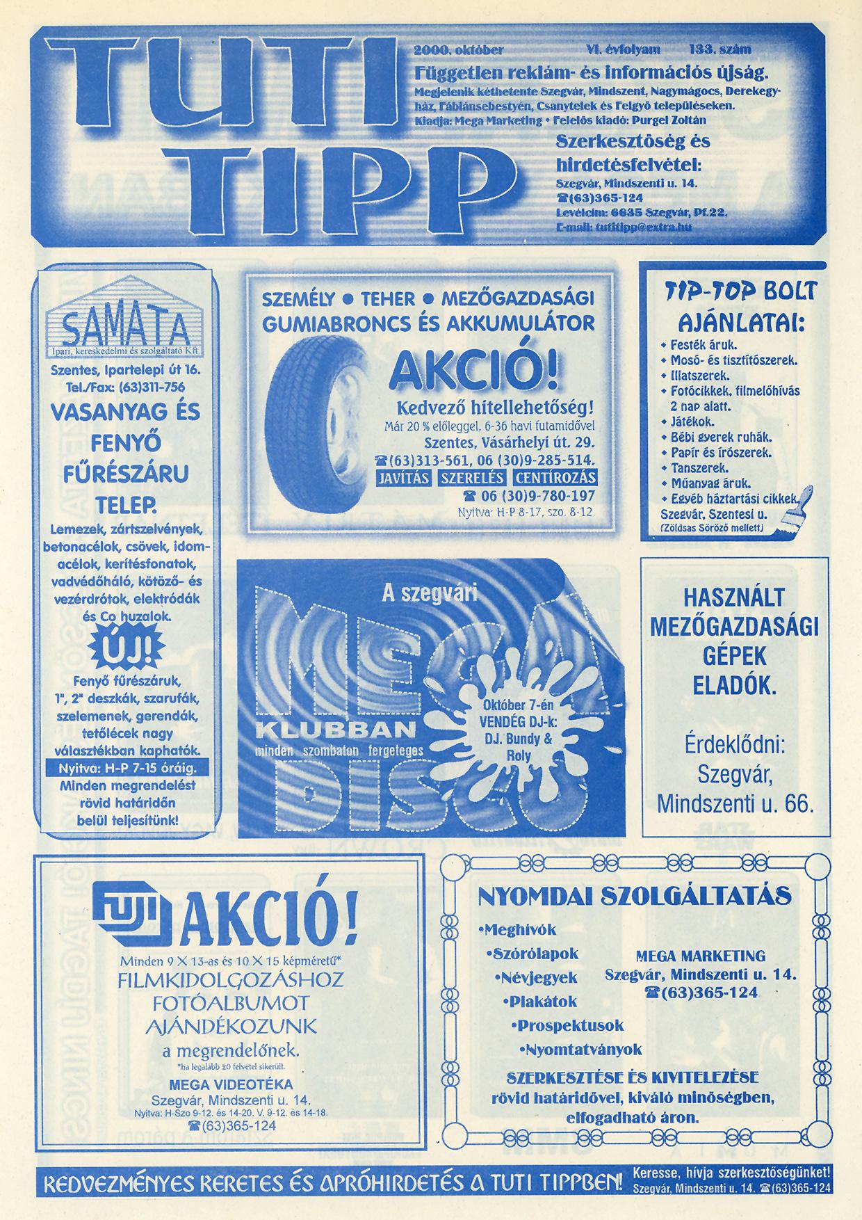 019 Tuti Tipp reklámújság - 200010-133. lapszám - 1.oldal - VI. évfolyam.jpg