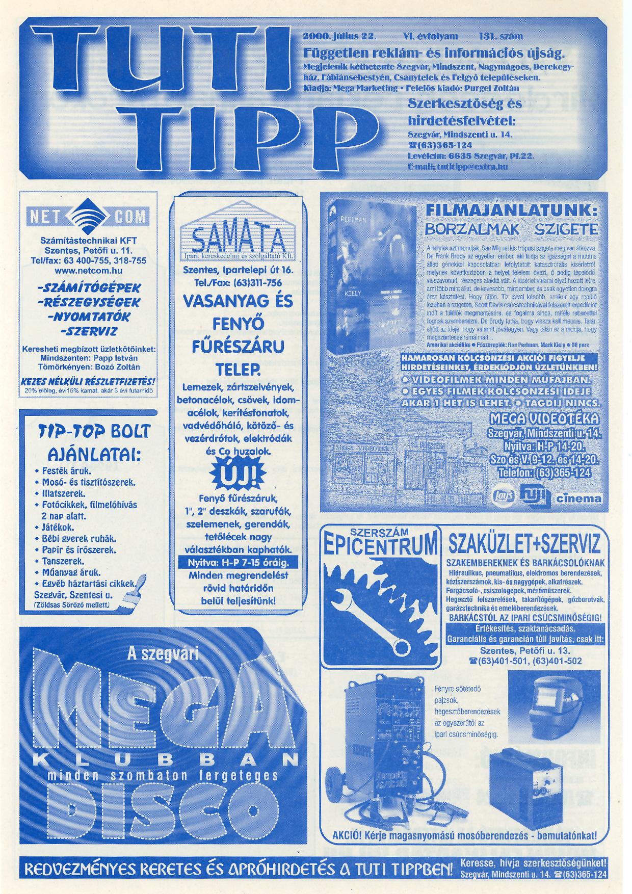 015 Tuti Tipp reklámújság - 20000722-131. lapszám - 1.oldal - VI. évfolyam.jpg