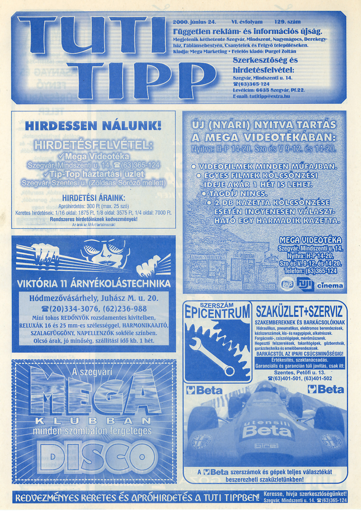 011 Tuti Tipp reklámújság - 20000624-129. lapszám - 1.oldal - VI. évfolyam.jpg
