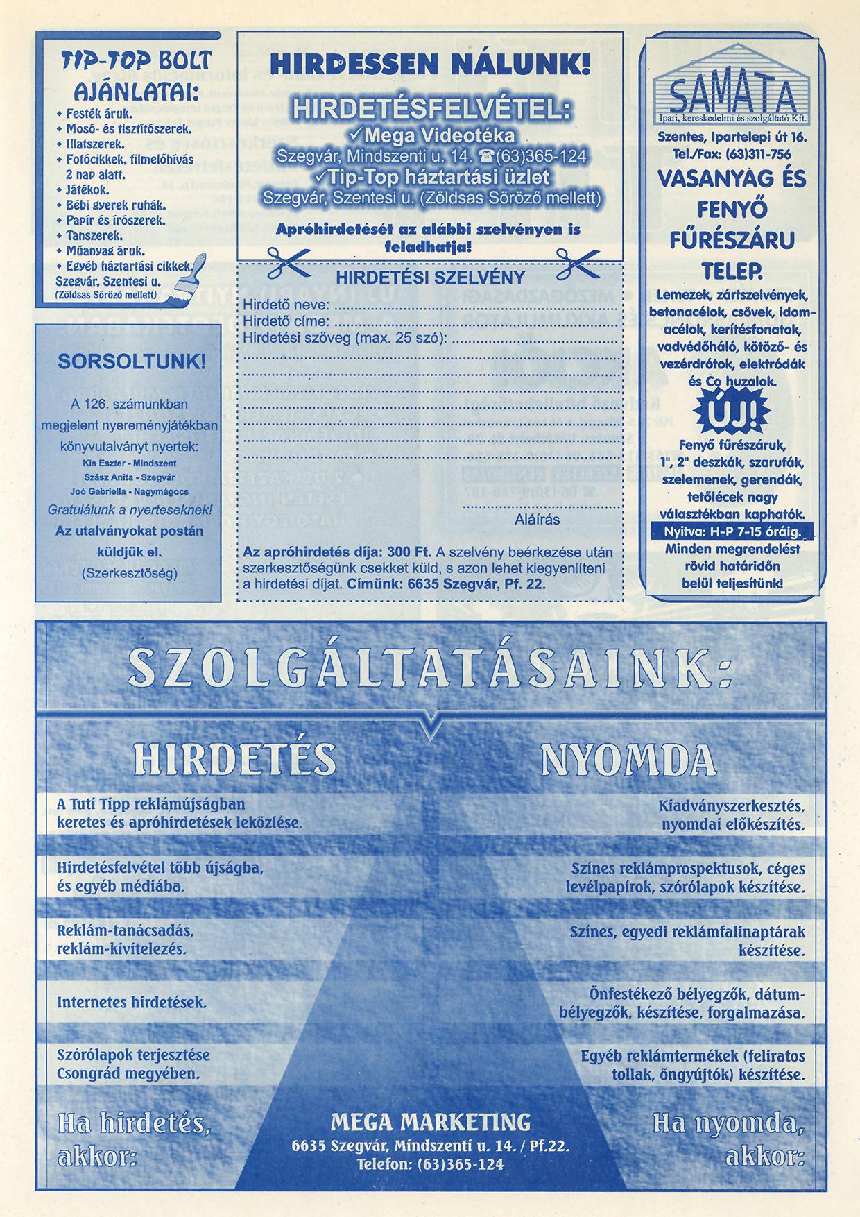 010 Tuti Tipp reklámújság - 20000609-128. lapszám - 2.oldal - VI. évfolyam.jpg