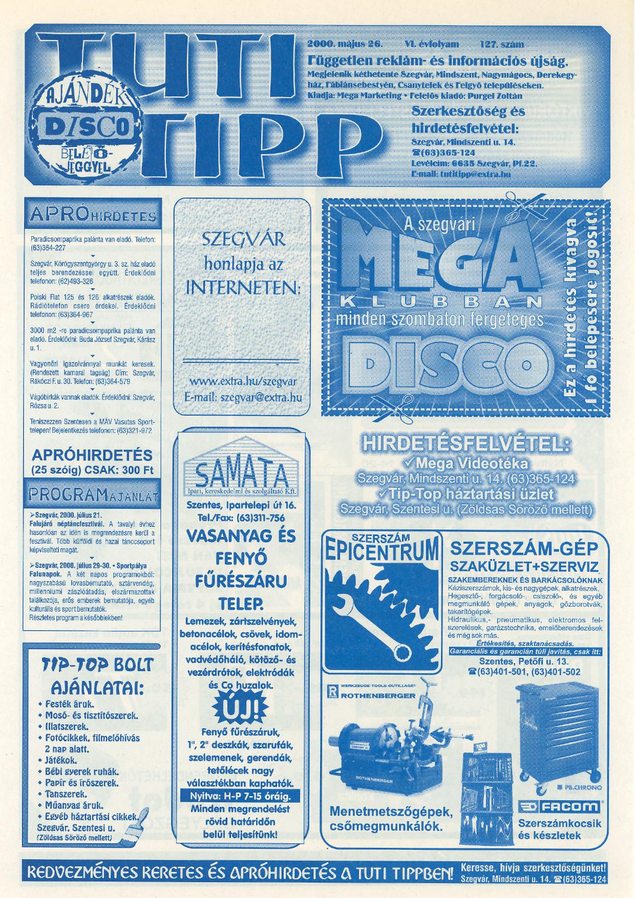 007 Tuti Tipp reklámújság - 20000526-127. lapszám - 1.oldal - VI. évfolyam.jpg