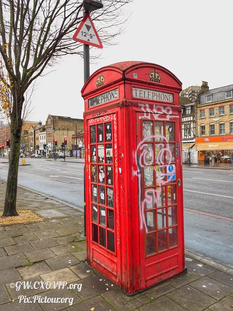 London phone box via ProCam RAW & snapseed during lockdown taken on iPhone