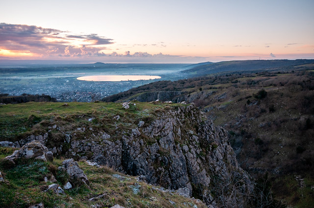 From Cheddar Gorge - Sunset over Somerset