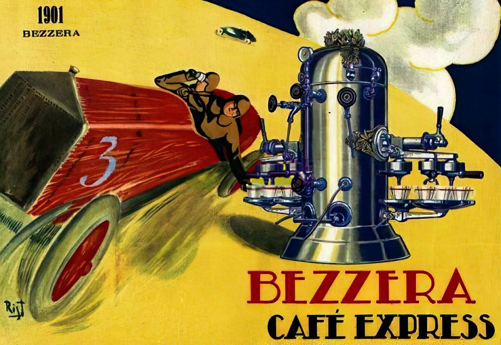 Poster quảng cáo máy Espresso Hơi nước của Luigi Bezzera năm 1901