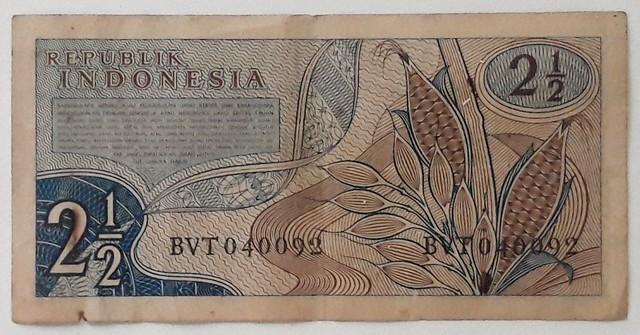 Back side of Rp 2 1/2,- Indonesian Money 1961
