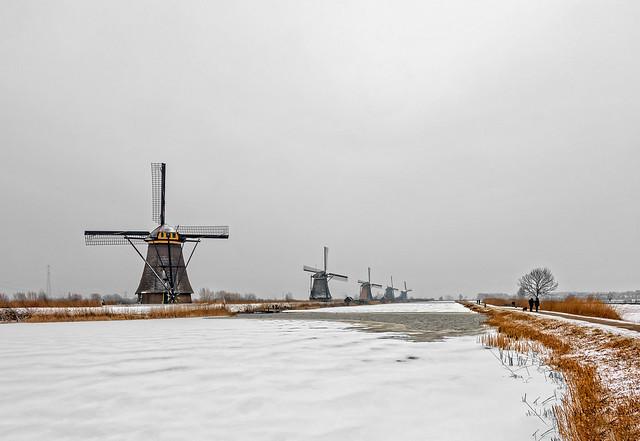 Kinderdijk winter photo