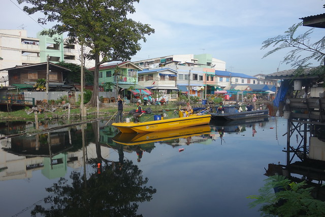 garbage barges on the canal