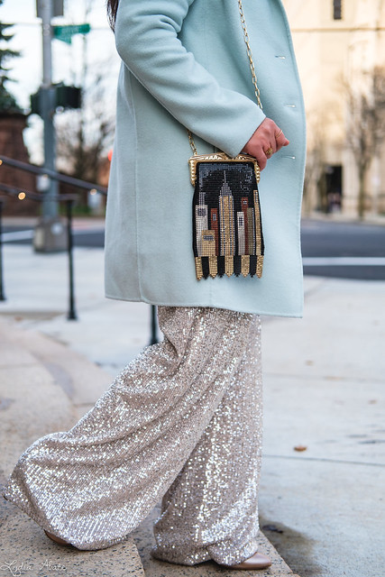wide leg sequin pants, mint green sweater, wool top coat, whiting and davis skyline bag-7.jpg