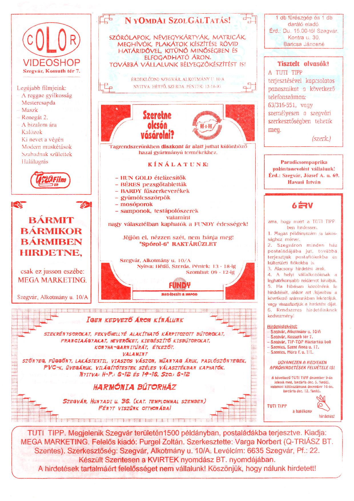 020 Szegvári Tuti Tipp reklámújság - 19951202-009. lapszám -2.oldal - I. évfolyam.jpg