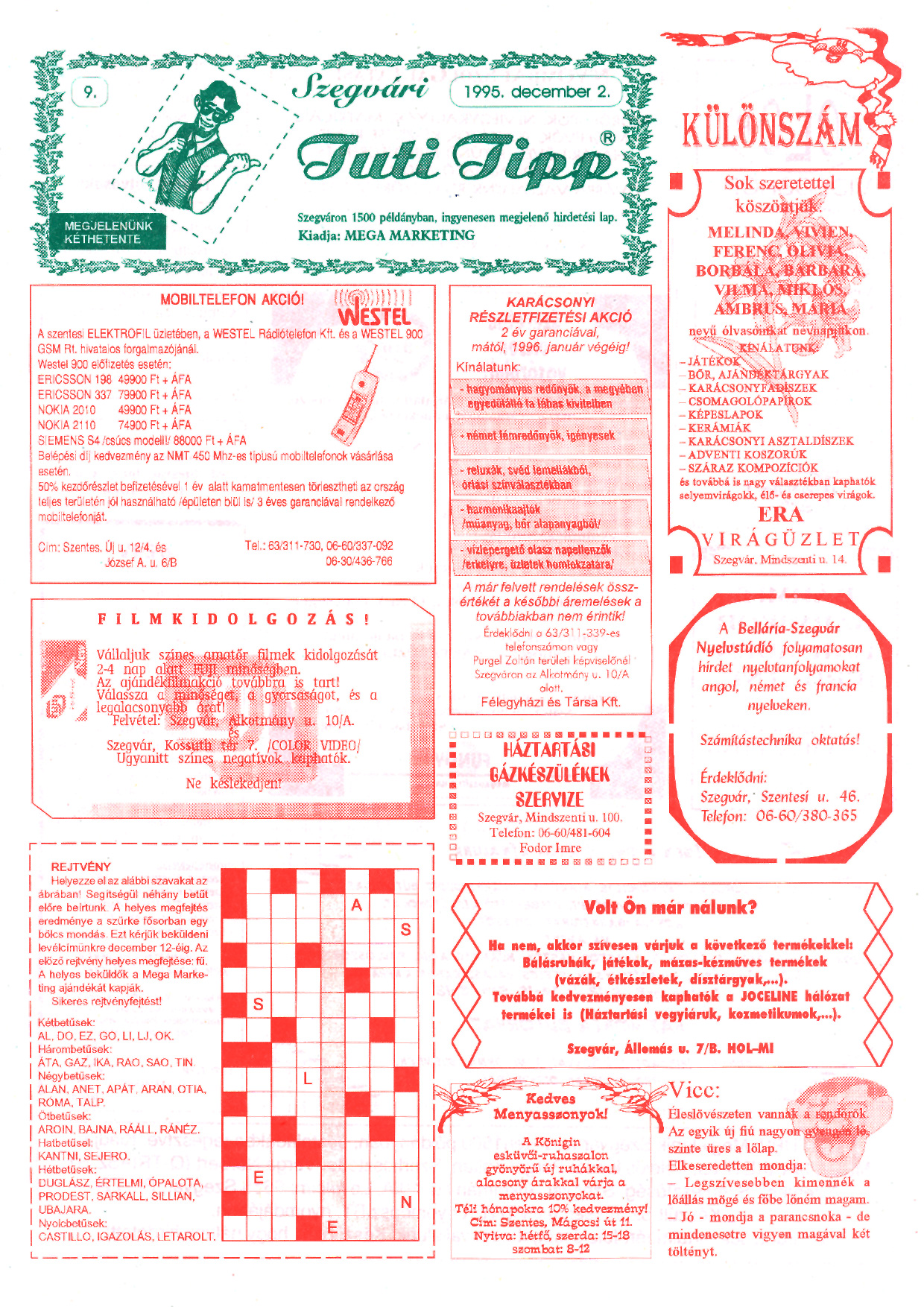 019 Szegvári Tuti Tipp reklámújság - 19951202-009. lapszám -1.oldal - I. évfolyam.jpg