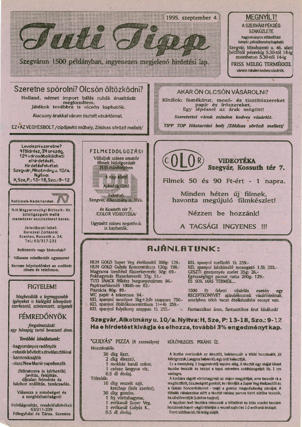 003 Tuti Tipp reklámújság - 19950904-002. lapszám -1.oldal - I. évfolyam.jpg