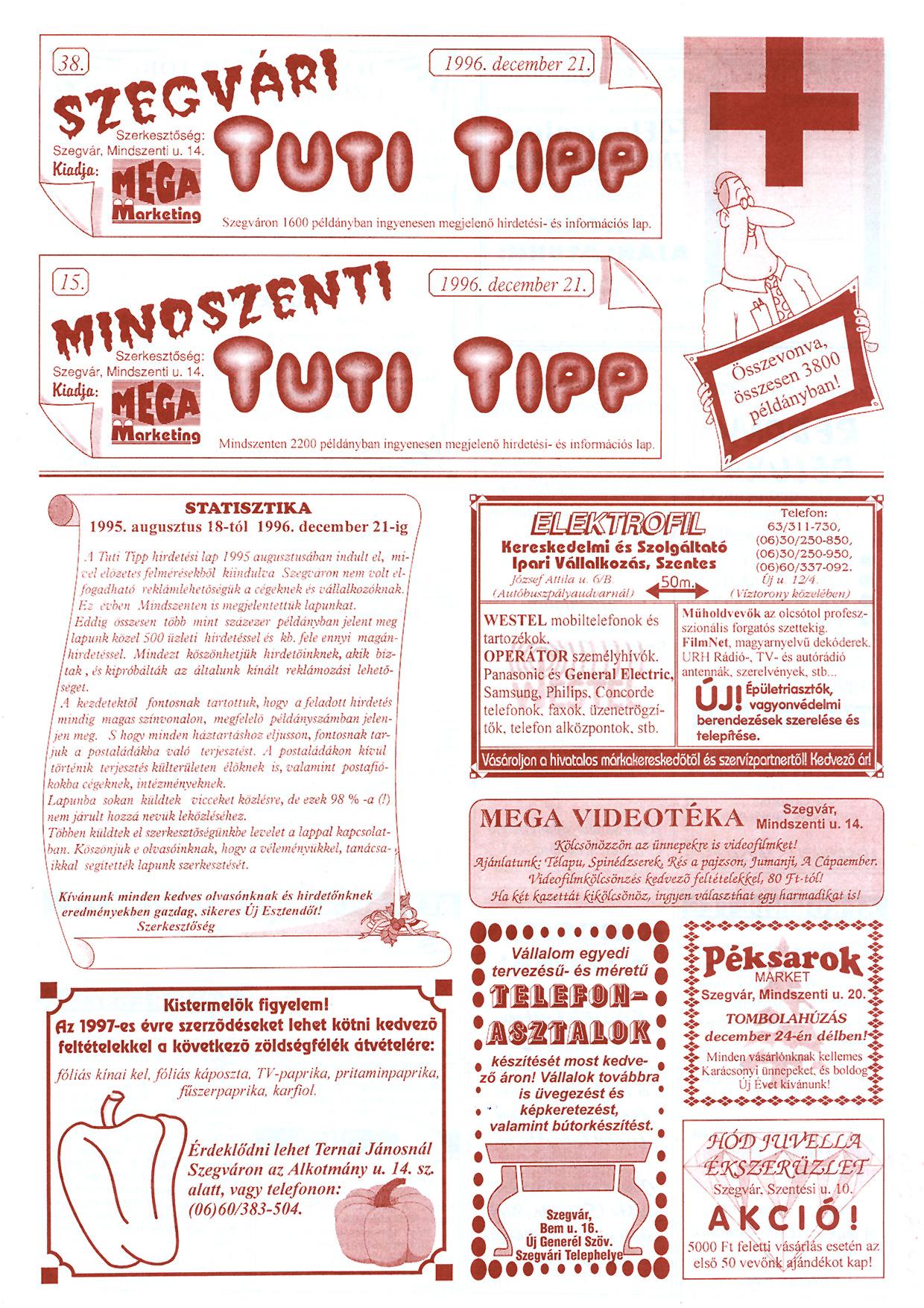 086 Szegvári és Mindszenti Tuti Tipp reklámújság - 19961221-038-15. lapszám - 1.oldal - II. évfolyam.jpg