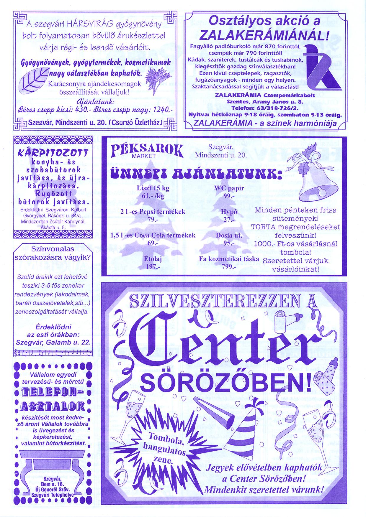 078 Szegvári Tuti Tipp reklámújság - 19961207-036. lapszám - 2.oldal - II. évfolyam.jpg