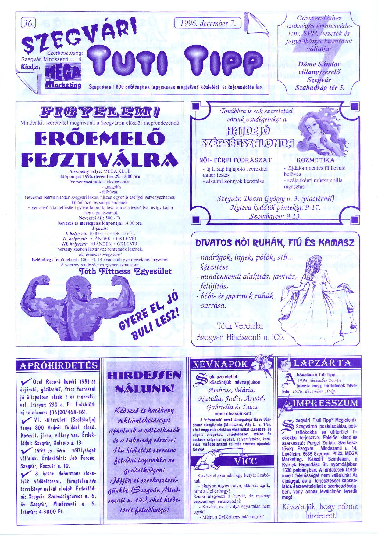 077 Szegvári Tuti Tipp reklámújság - 19961207-036. lapszám - 1.oldal - II. évfolyam.jpg