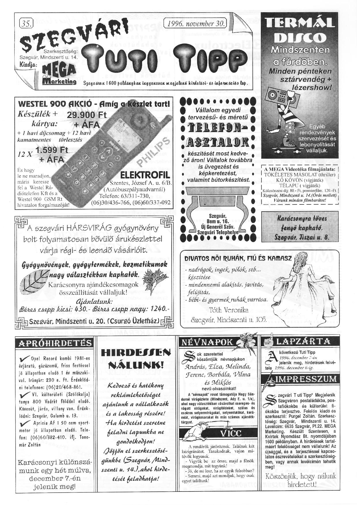 073 Szegvári Tuti Tipp reklámújság - 19961130-035. lapszám - 1.oldal - II. évfolyam.jpg