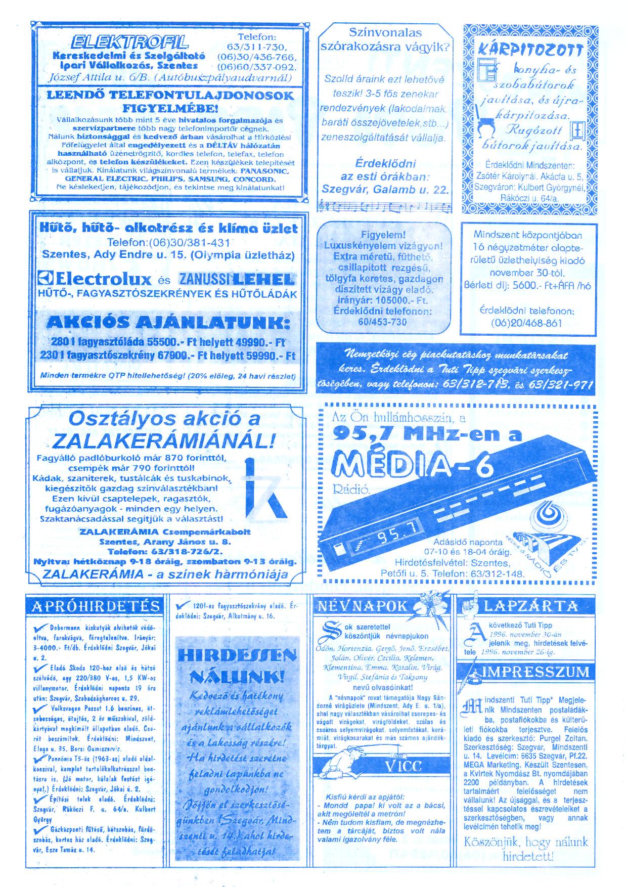 072 Mindszenti Tuti Tipp reklámújság - 19961116-011. lapszám - 2.oldal - II. évfolyam.jpg