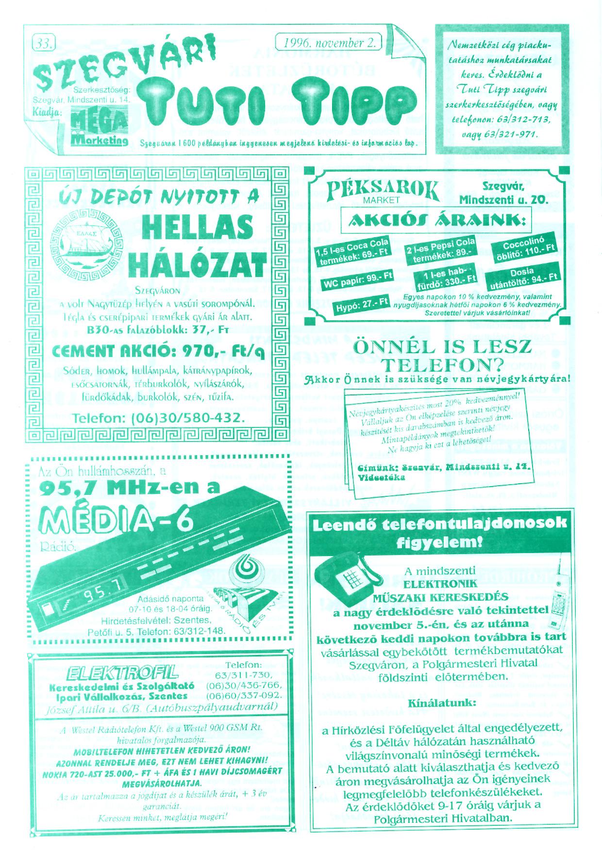 063 Szegvári Tuti Tipp reklámújság - 19961102-033. lapszám - 1.oldal - II. évfolyam.jpg