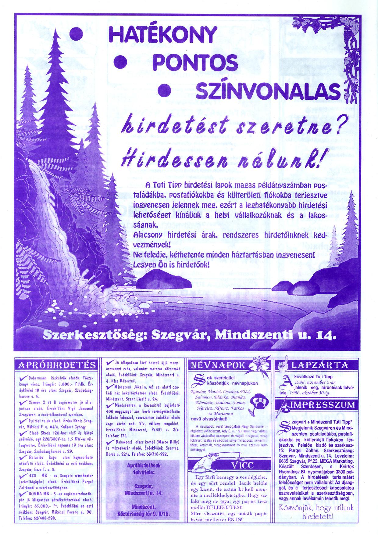 062 Szegvári és Mindszenti Tuti Tipp reklámújság - 19961019-032-009. lapszám - 4.oldal - II. évfolyam.jpg