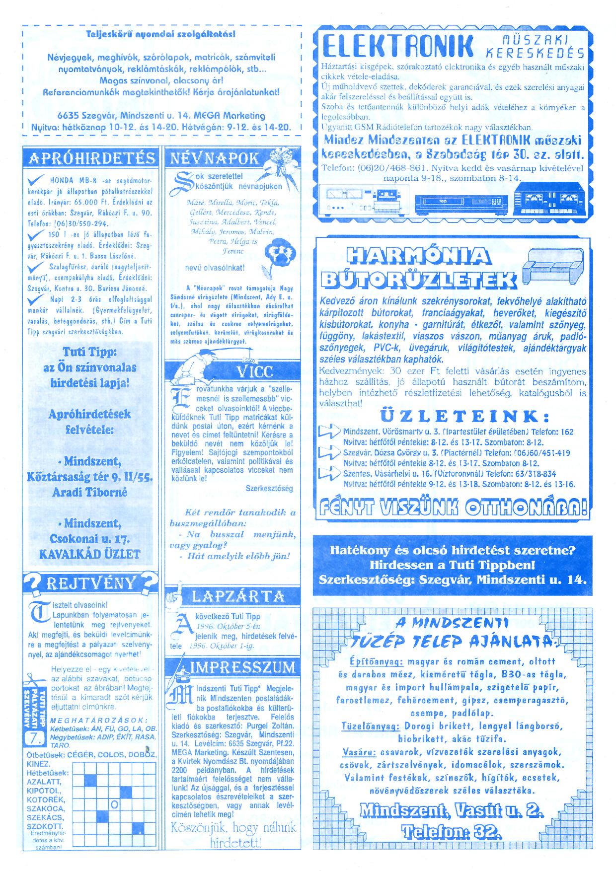 054 Mindszenti Tuti Tipp reklámújság - 19960921-007. lapszám - 2.oldal - II. évfolyam.jpg