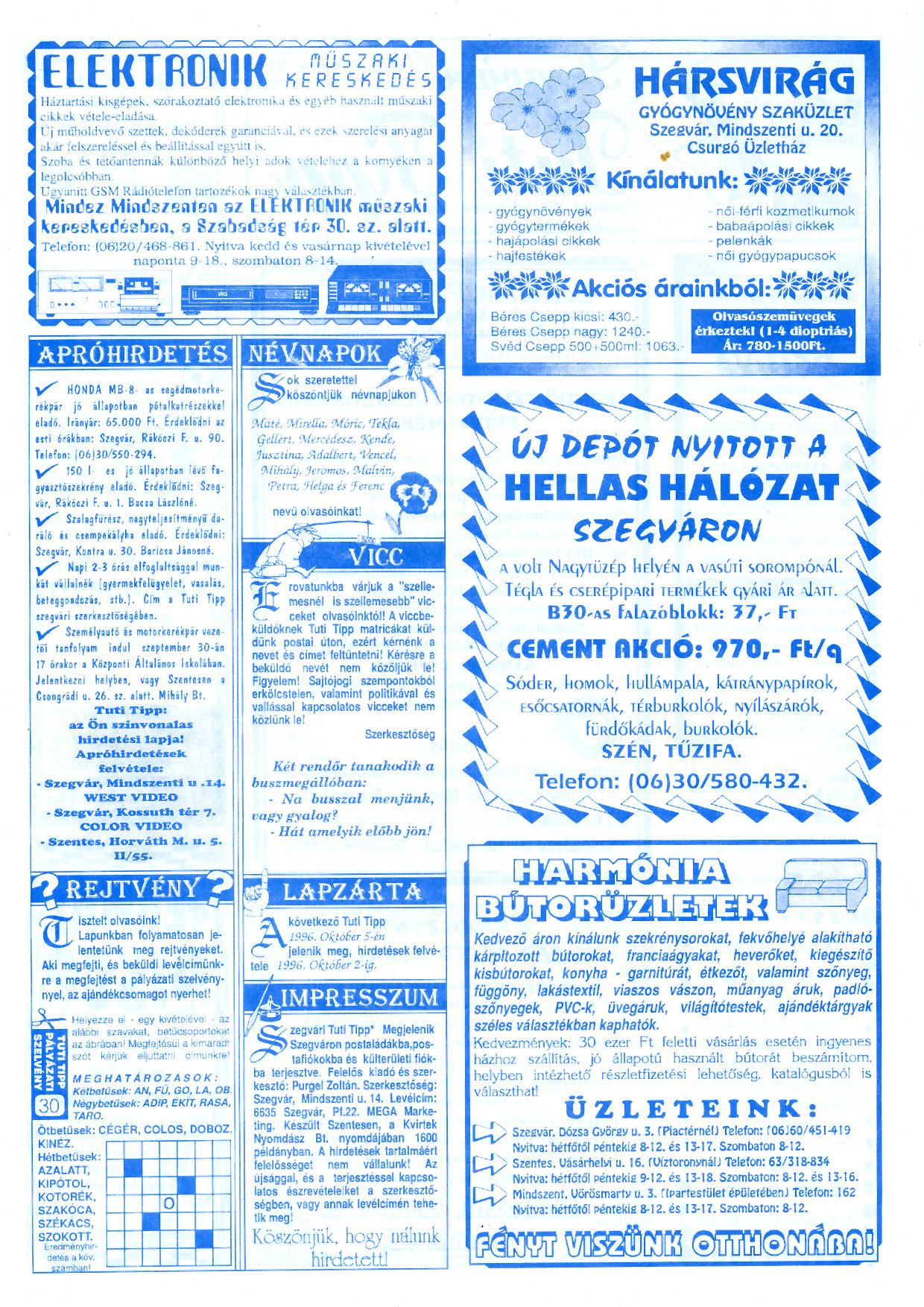 052 Szegvári Tuti Tipp reklámújság - 19960921-030. lapszám - 2.oldal - II. évfolyam.jpg