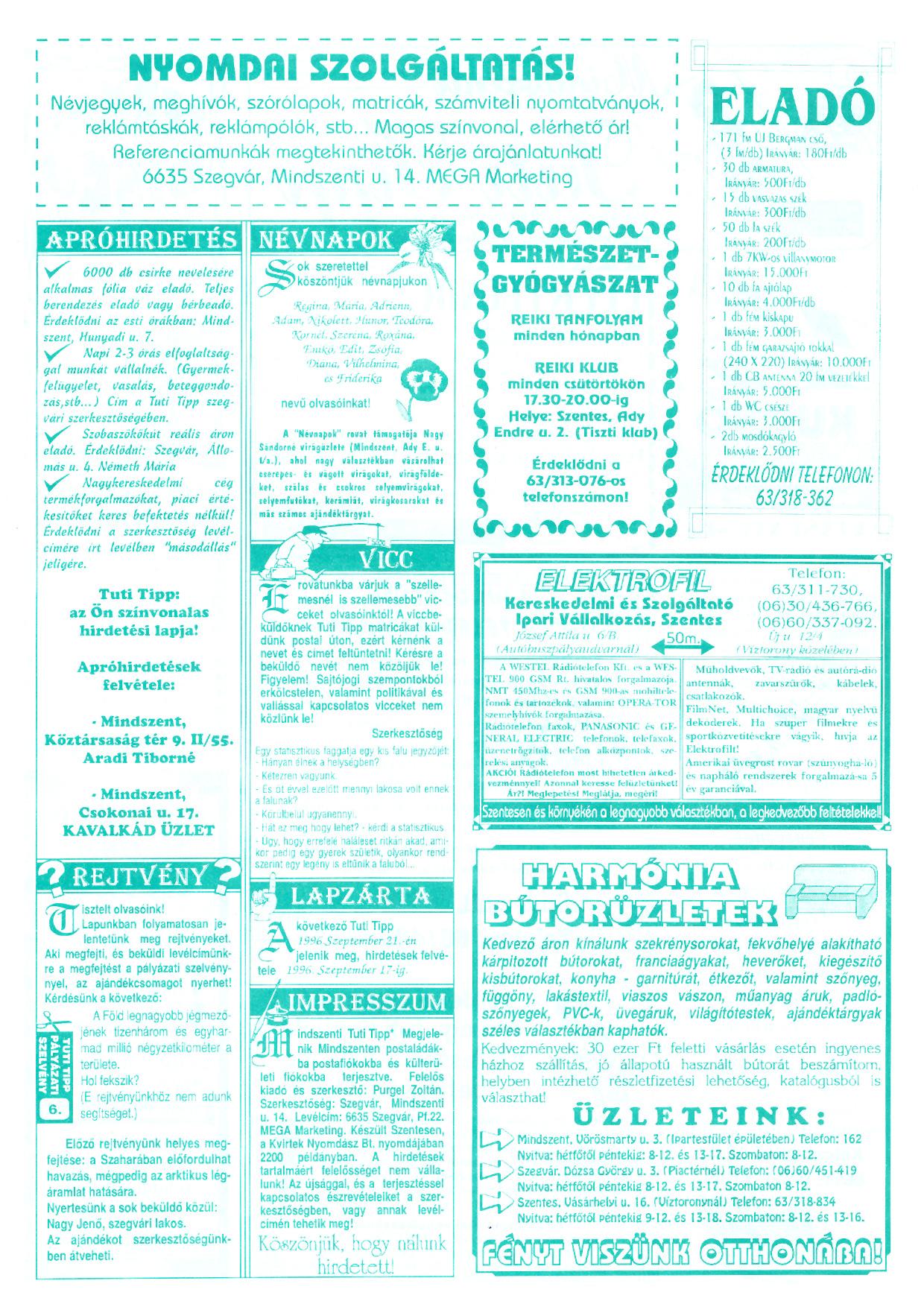 050 Mindszenti Tuti Tipp reklámújság - 19960907-006. lapszám - 2.oldal - II. évfolyam.jpg
