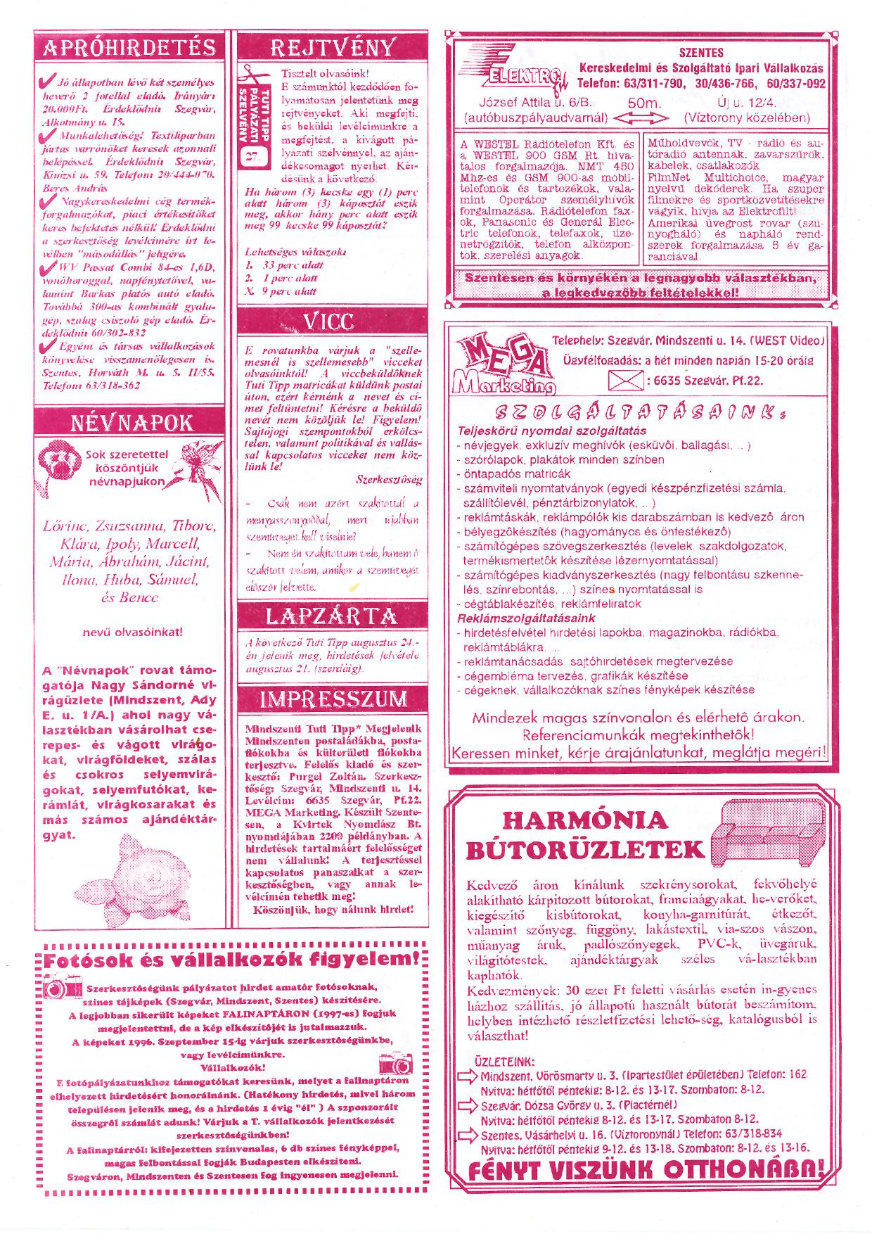 042 Mindszenti Tuti Tipp reklámújság - 19960810-004. lapszám - 2.oldal - II. évfolyam.jpg