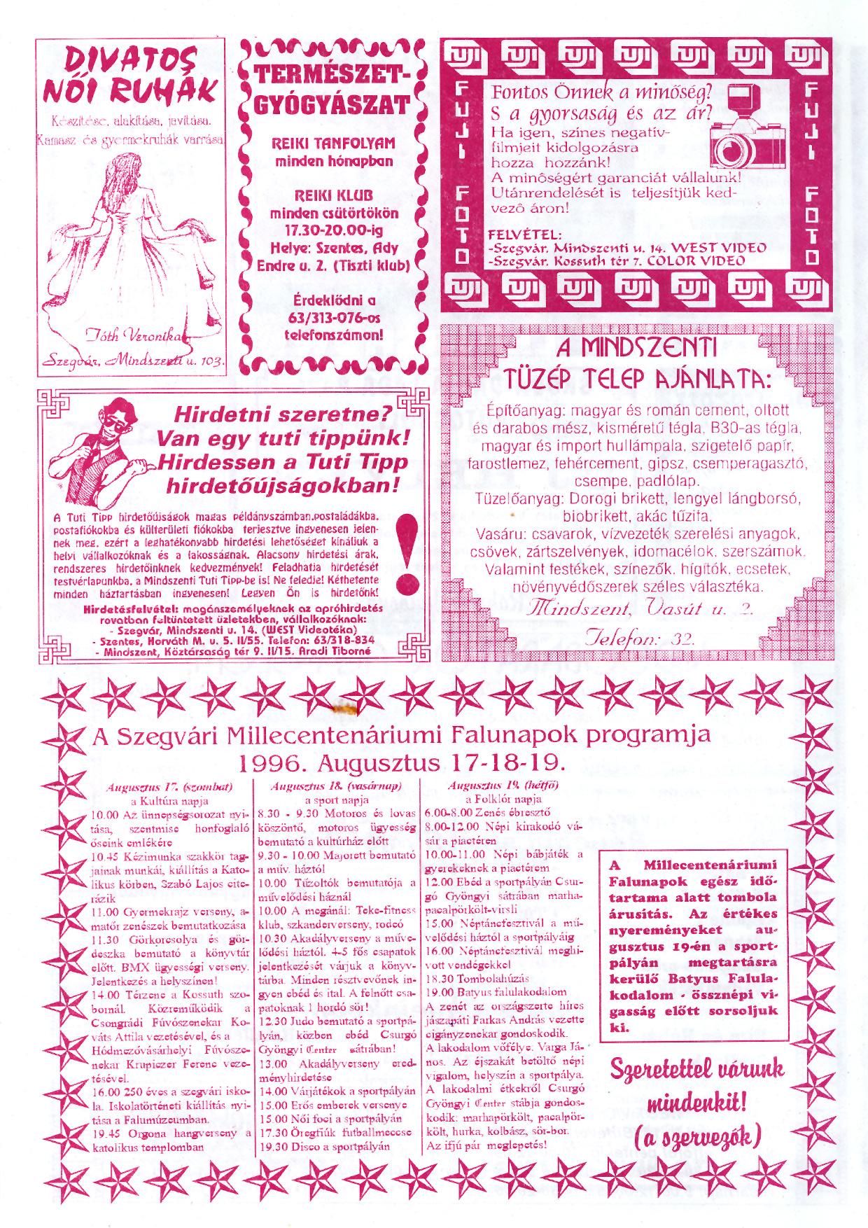 040 Szegvári Tuti Tipp reklámújság - 19960810-027. lapszám - 4.oldal - II. évfolyam.jpg