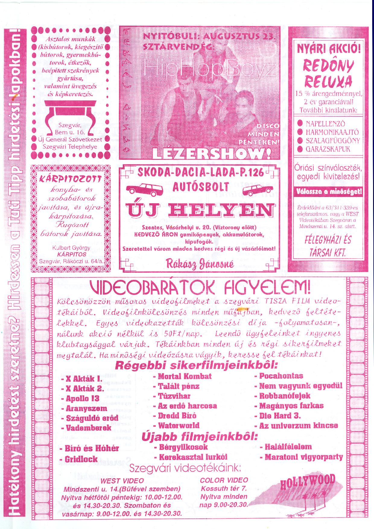 039 Szegvári Tuti Tipp reklámújság - 19960810-027. lapszám - 3.oldal - II. évfolyam.jpg