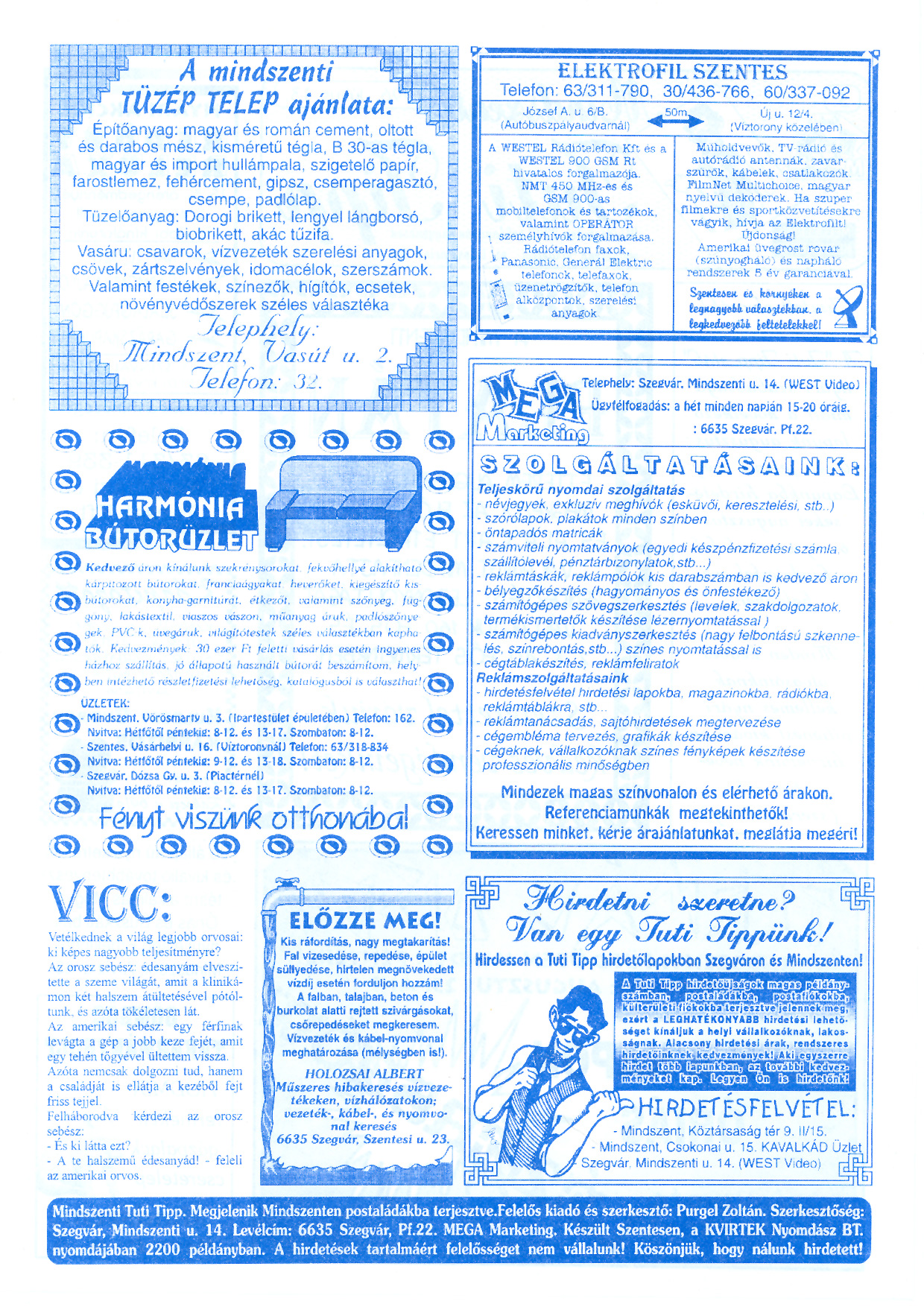 036 Mindszenti Tuti Tipp reklámújság - 19960713-003. lapszám - 2.oldal - II. évfolyam.jpg