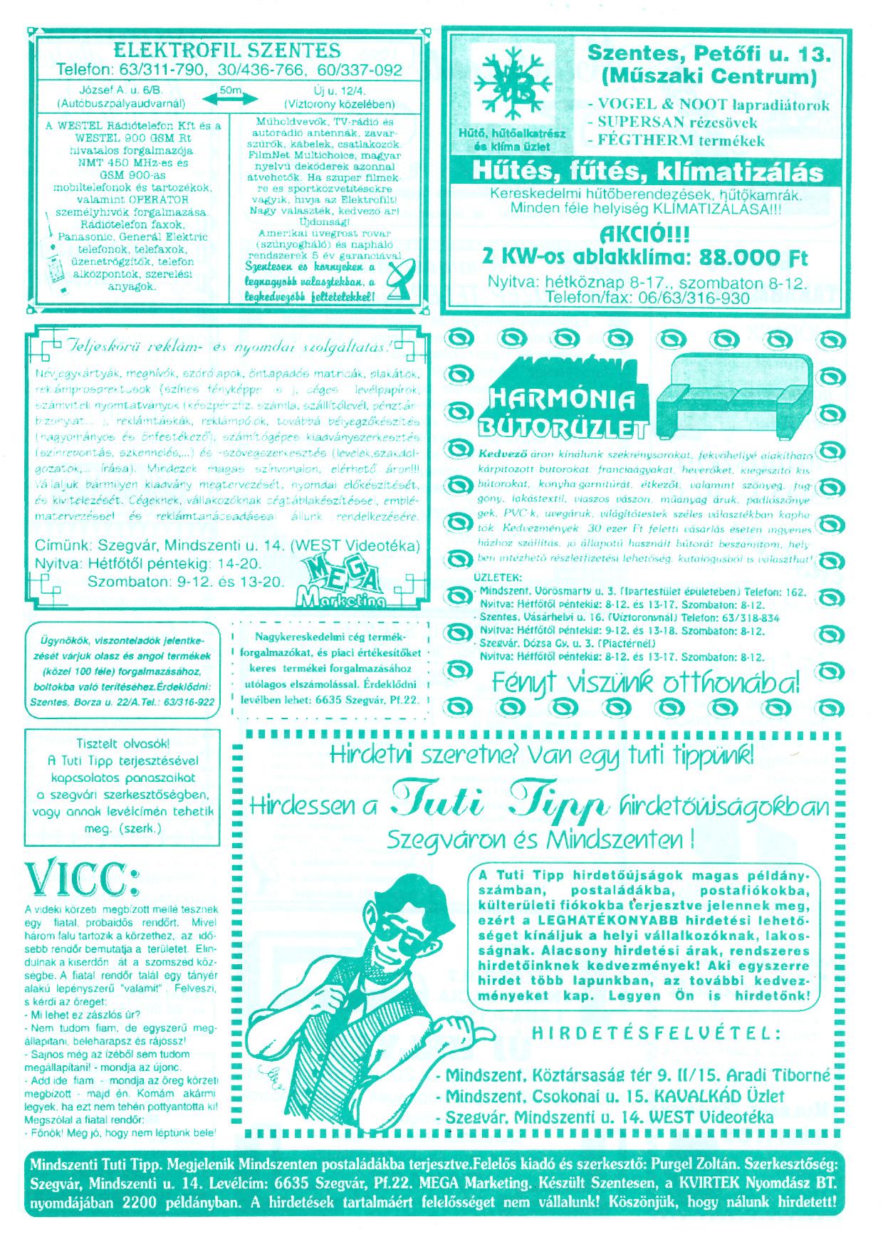 032 Mindszenti Tuti Tipp reklámújság - 19960629-002. lapszám - 2.oldal - II. évfolyam.jpg