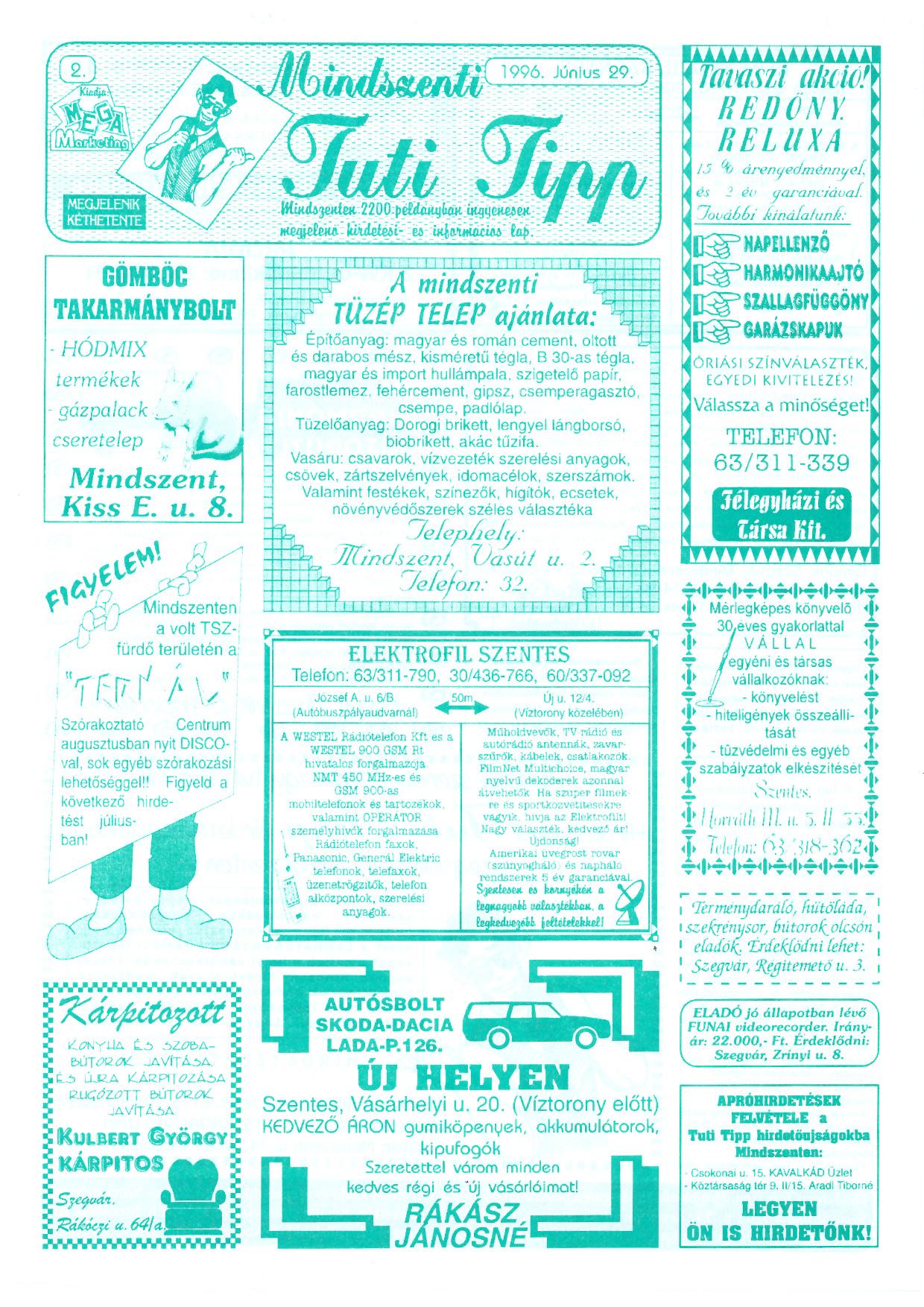 031 Mindszenti Tuti Tipp reklámújság - 19960629-002. lapszám - 1.oldal - II. évfolyam.jpg