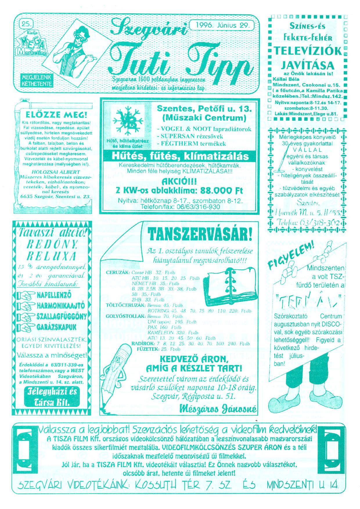 029 Szegvári Tuti Tipp reklámújság - 19960629-025. lapszám - 1.oldal - II. évfolyam.jpg