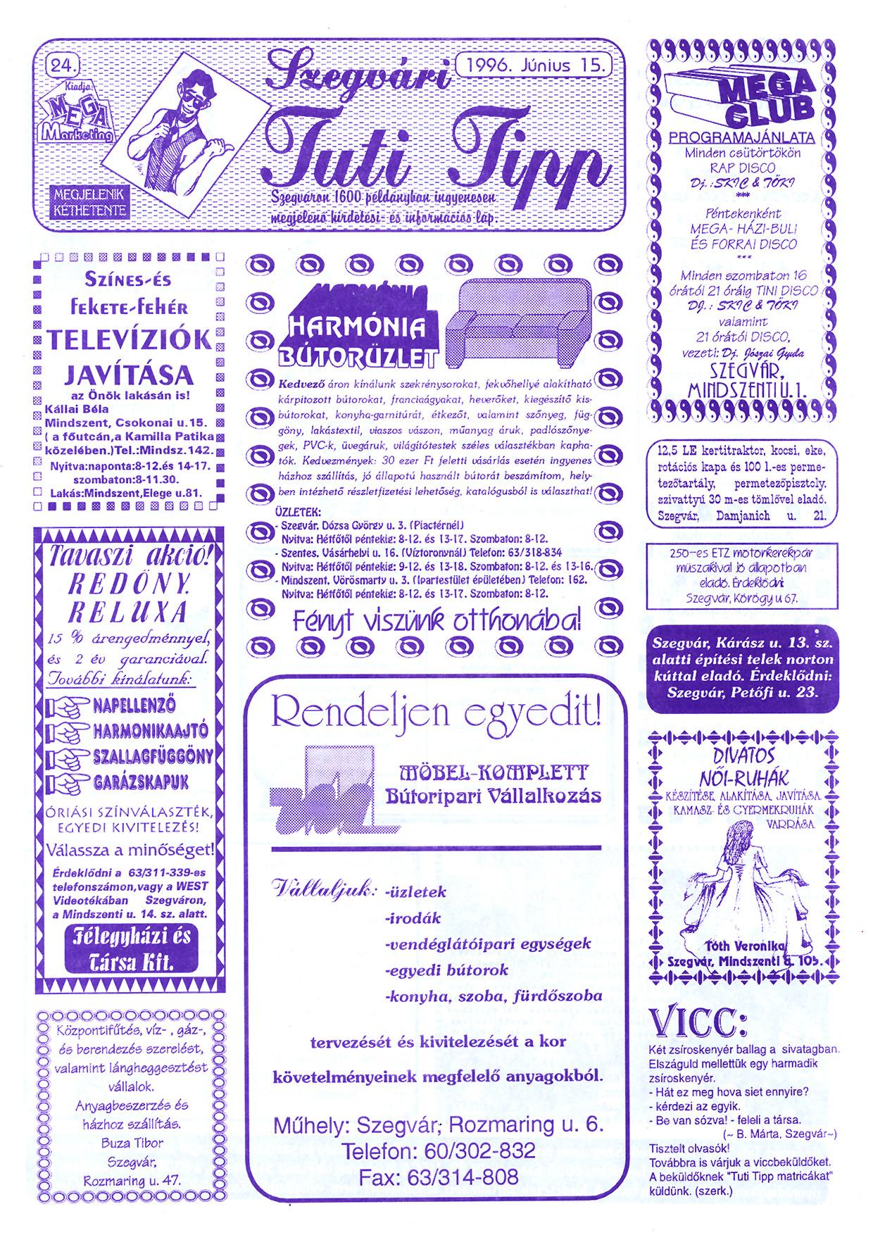 025 Szegvári Tuti Tipp reklámújság - 19960615-024. lapszám - 1.oldal - II. évfolyam.jpg