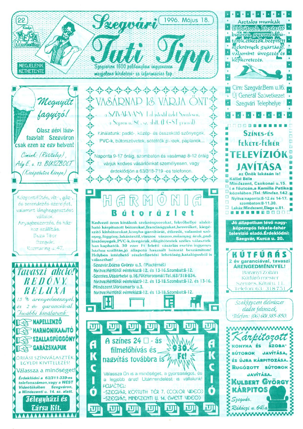 021 Szegvári Tuti Tipp reklámújság - 19960518-022. lapszám - 1.oldal - II. évfolyam.jpg