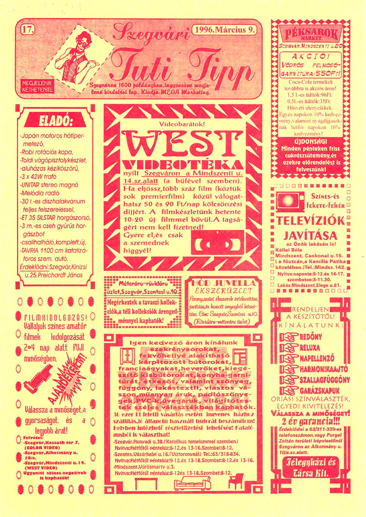 009 Szegvári Tuti Tipp reklámújság - 19960309-017. lapszám - 1.oldal - II. évfolyam.jpg