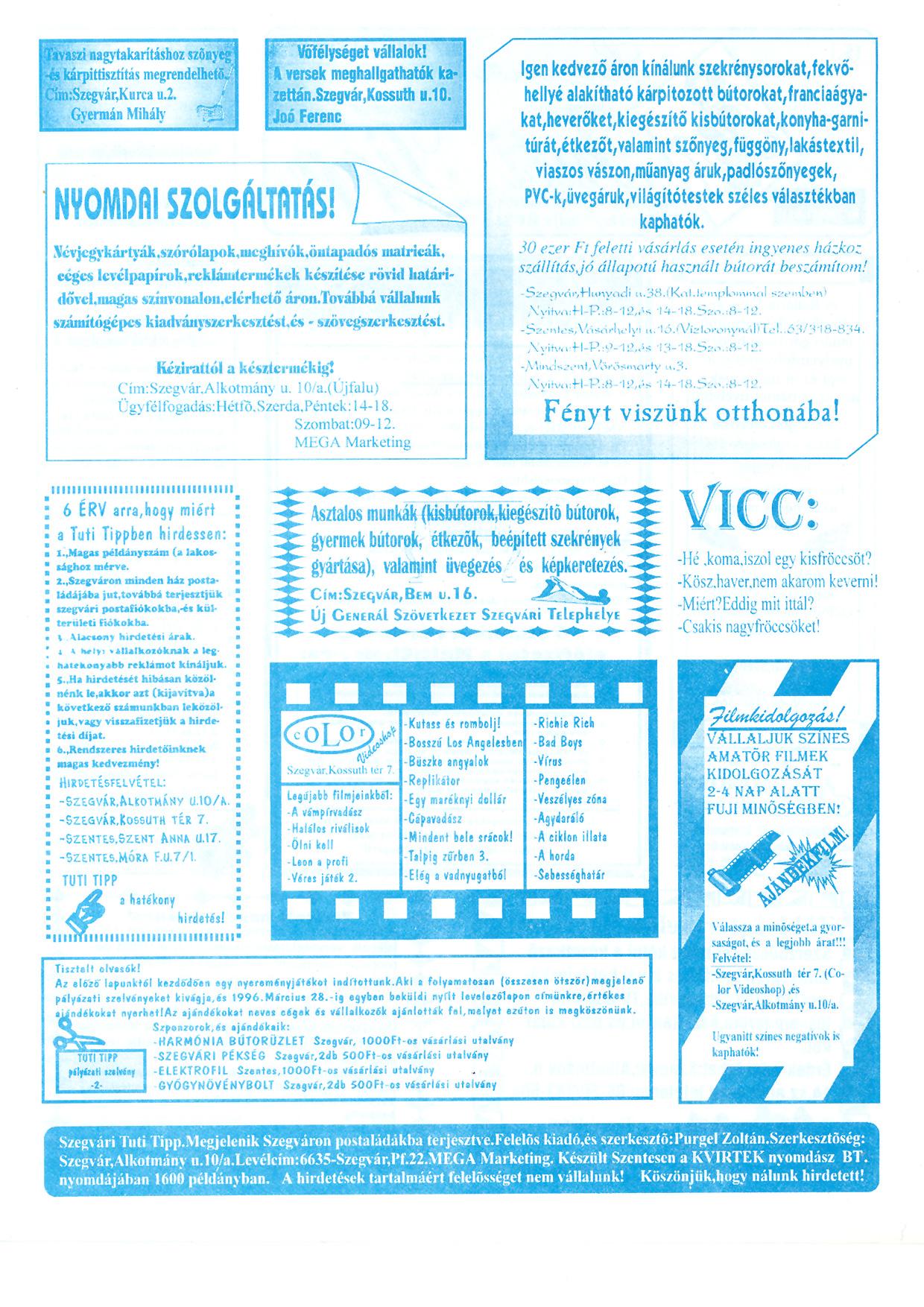 006 Szegvári Tuti Tipp reklámújság - 19960210-015. lapszám - 2.oldal - II. évfolyam.jpg