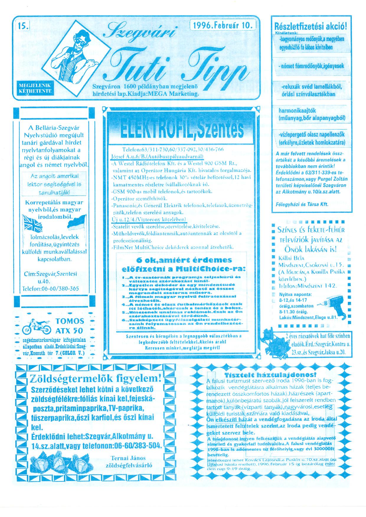 005 Szegvári Tuti Tipp reklámújság - 19960210-015. lapszám - 1.oldal - II. évfolyam.jpg