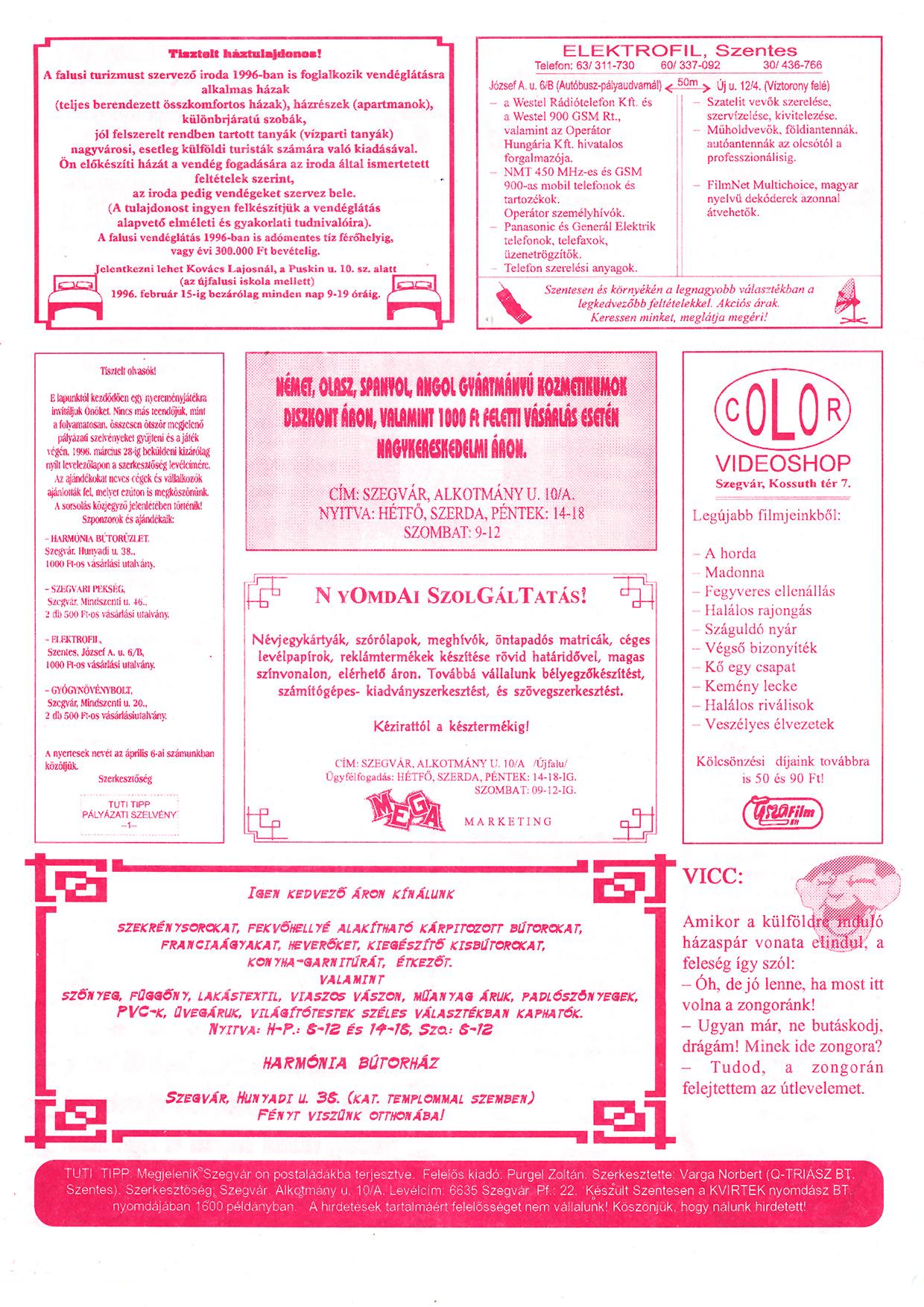 004 Szegvári Tuti Tipp reklámújság - 19960127-014. lapszám - 2.oldal - II. évfolyam.jpg