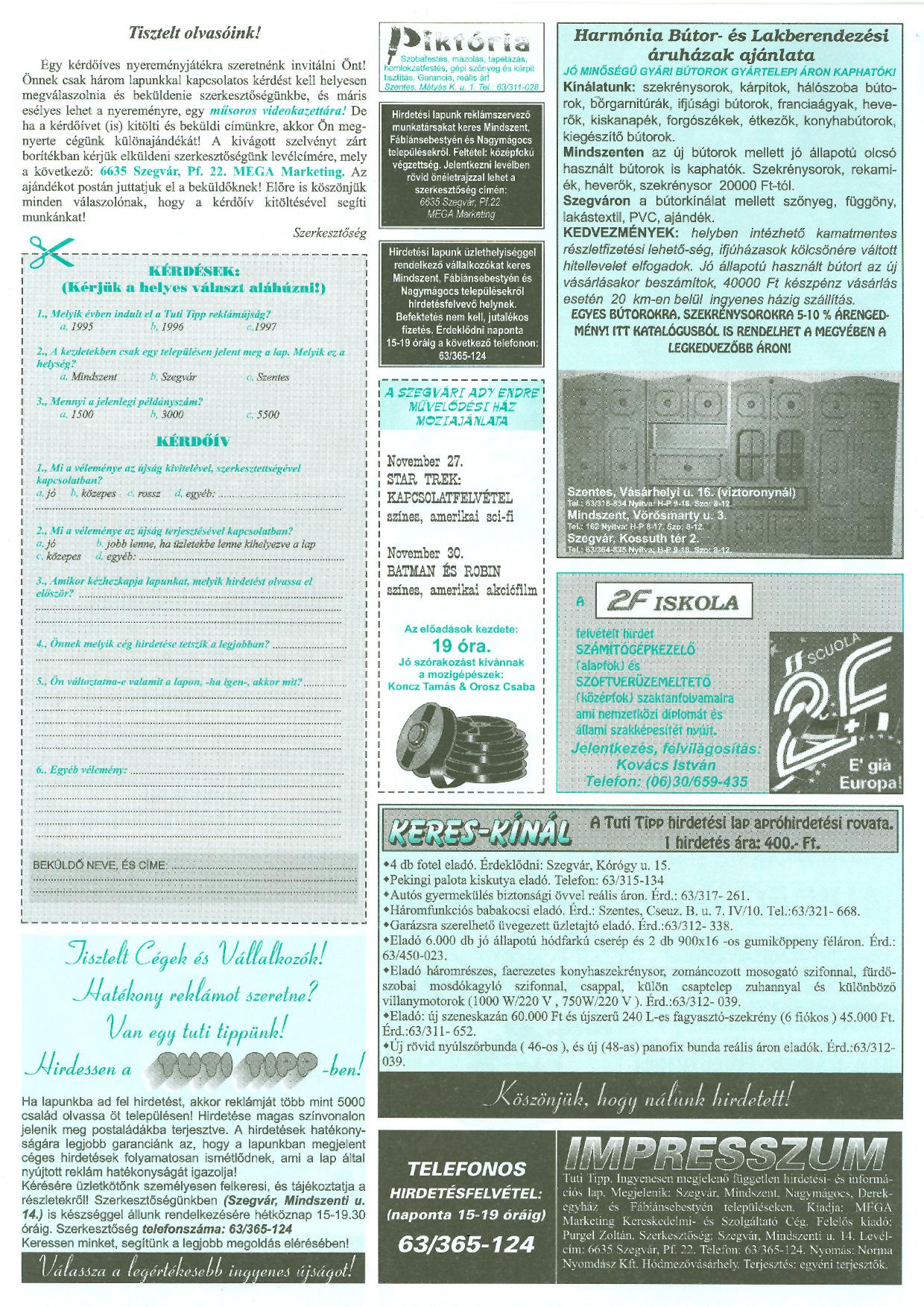 046 Tuti Tipp reklámújság - 19971122-074. lapszám - 4.oldal - III. évfolyam.jpg