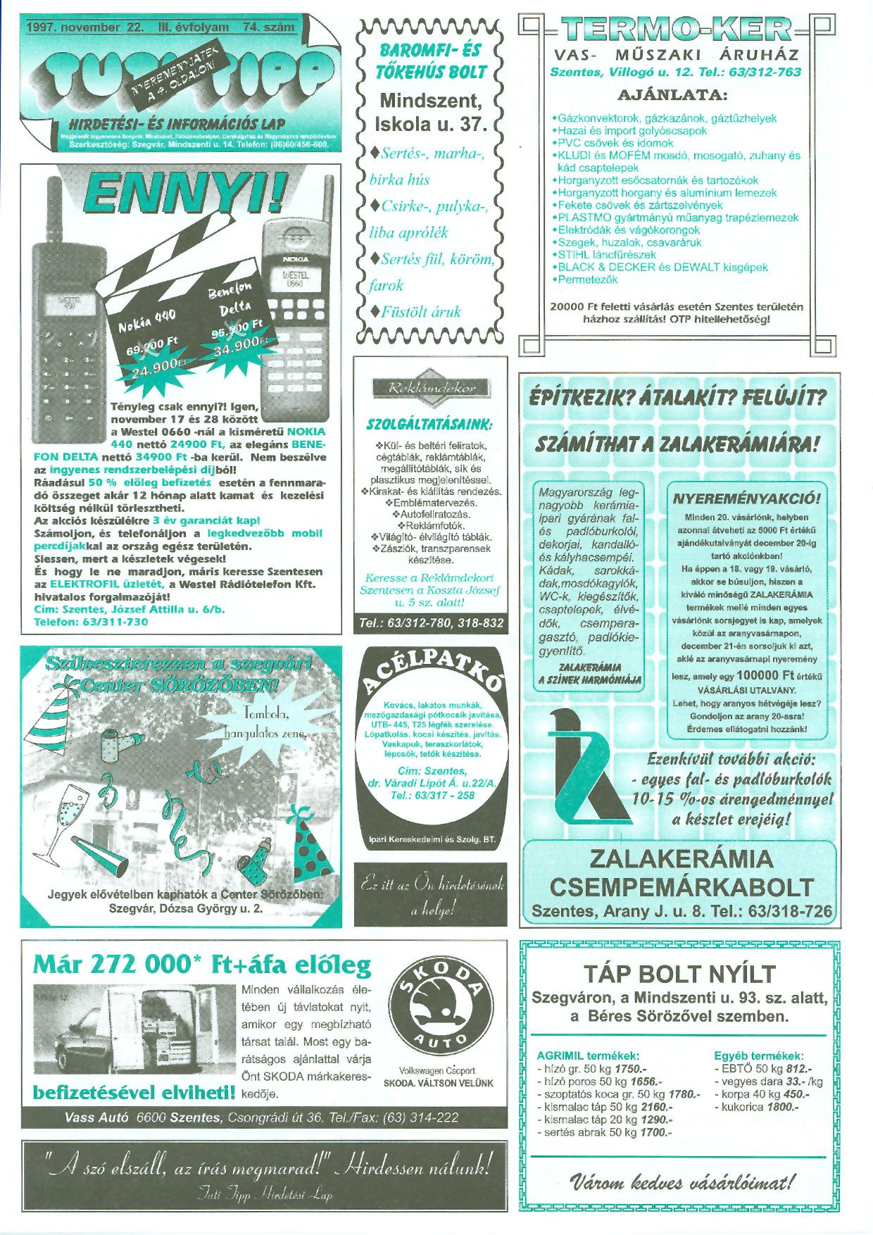 043 Tuti Tipp reklámújság - 19971122-074. lapszám - 1.oldal - III. évfolyam.jpg