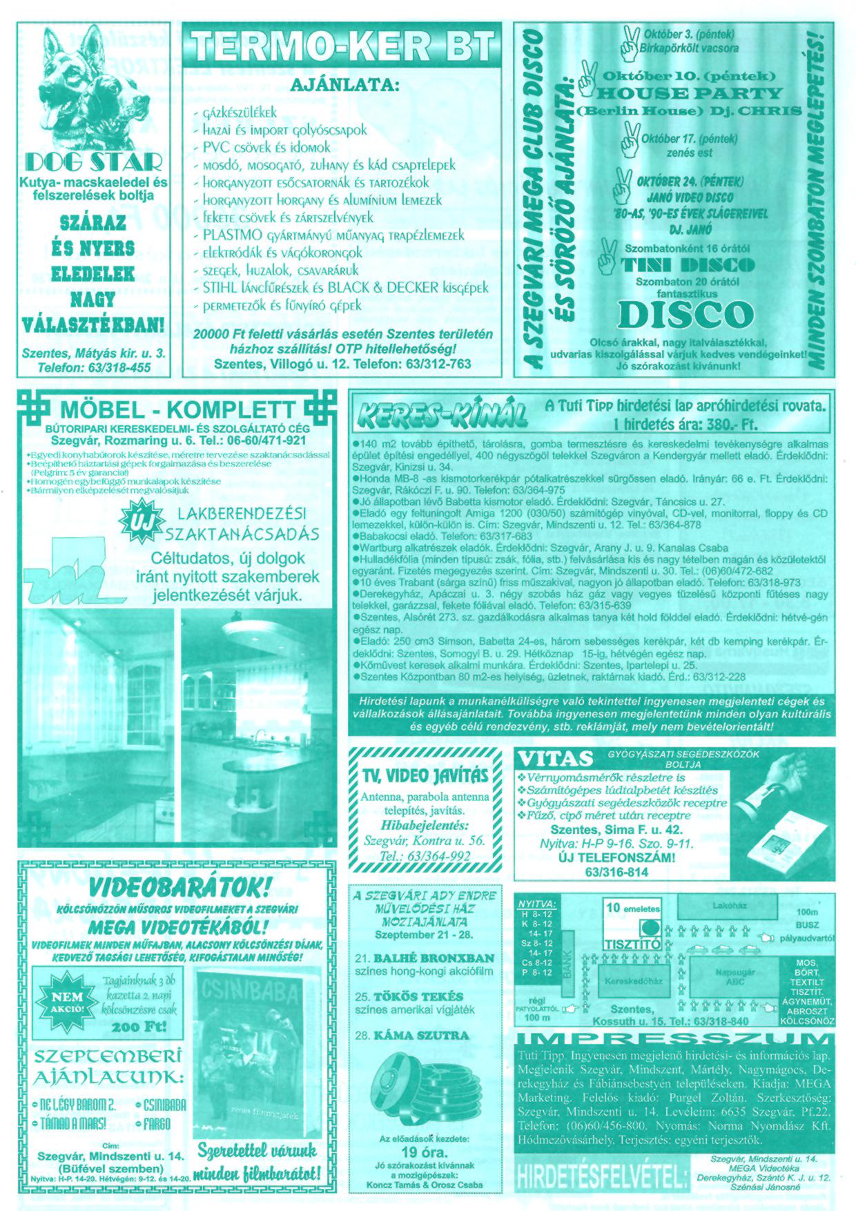 036 Tuti Tipp reklámújság - 19970920-070. lapszám - 2.oldal - III. évfolyam.jpg