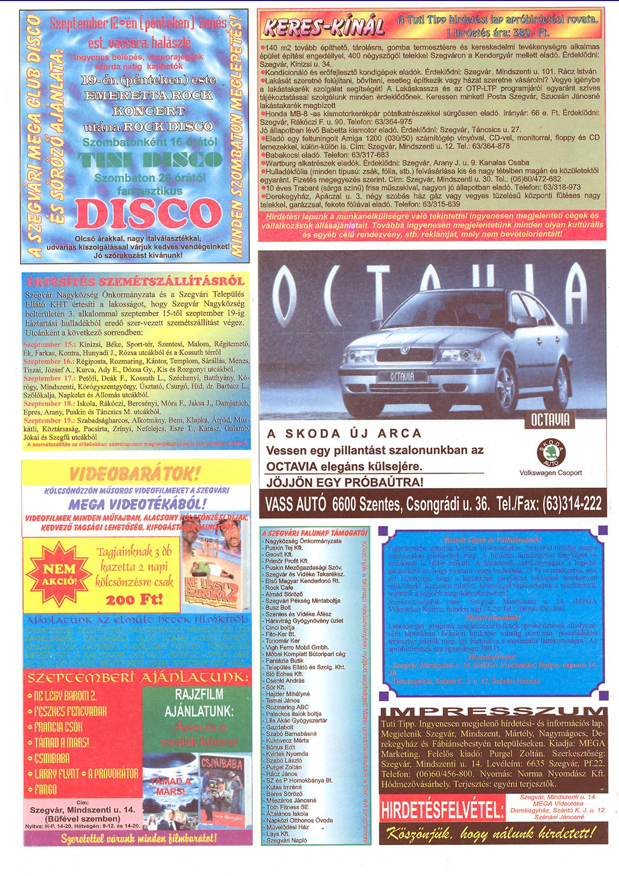034 Tuti Tipp reklámújság - 19970906-069. lapszám - 2.oldal - III. évfolyam.jpg