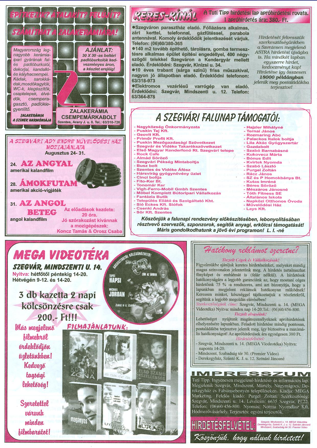 032 Tuti Tipp reklámújság - 19970823-068. lapszám - 2.oldal - III. évfolyam.jpg