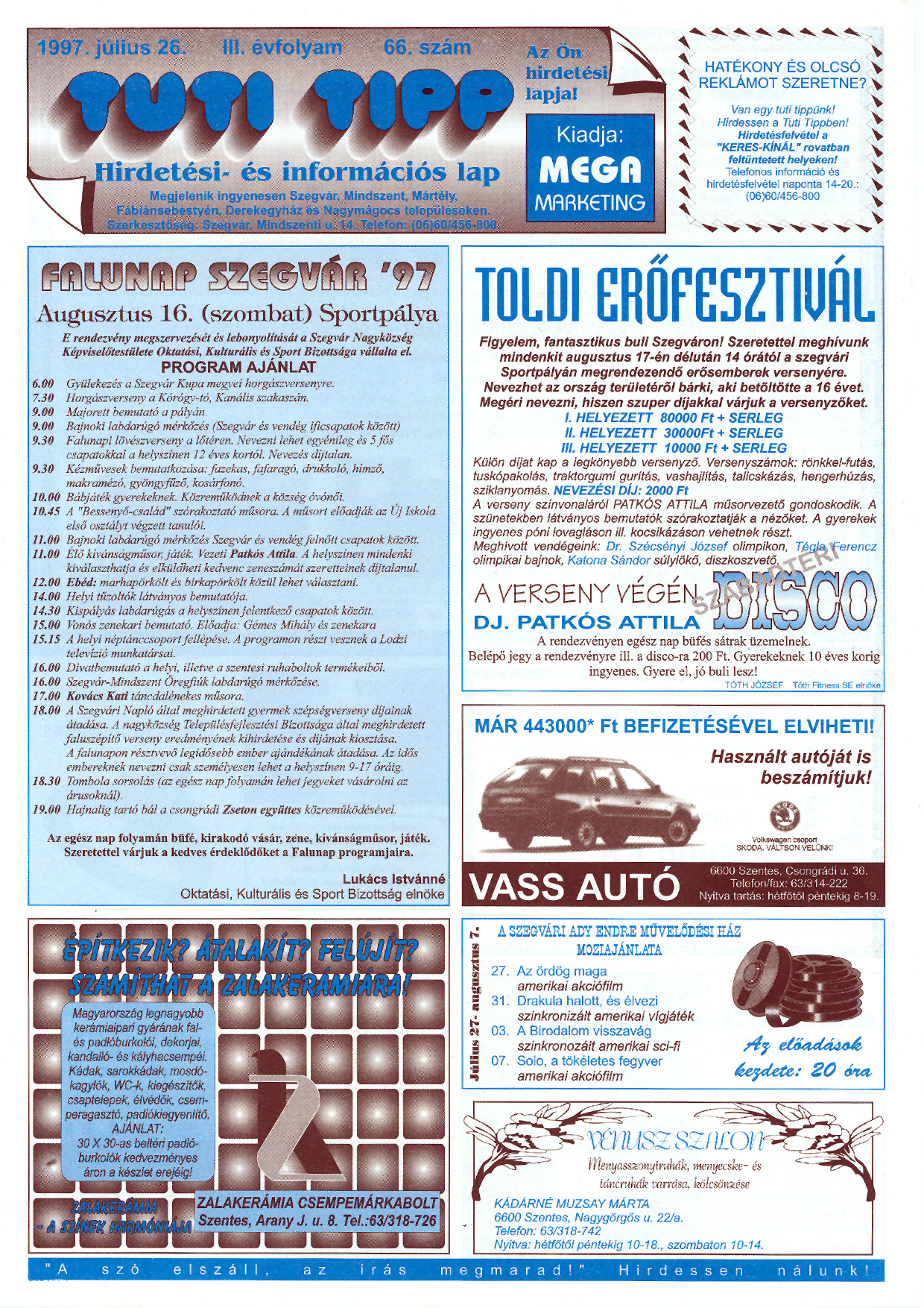 025 Tuti Tipp reklámújság - 19970726-066. lapszám - 1.oldal - III. évfolyam.jpg