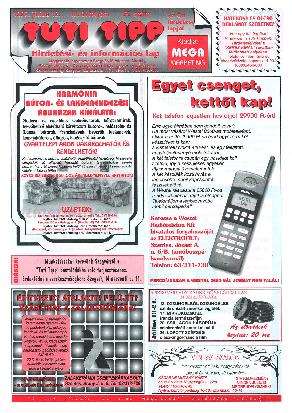 023 Tuti Tipp reklámújság - 19970712-065. lapszám - 1.oldal - III. évfolyam.jpg